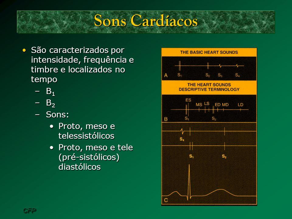 Sons Cardíacos São caracterizados por intensidade, frequência e timbre e localizados no tempo. B1.