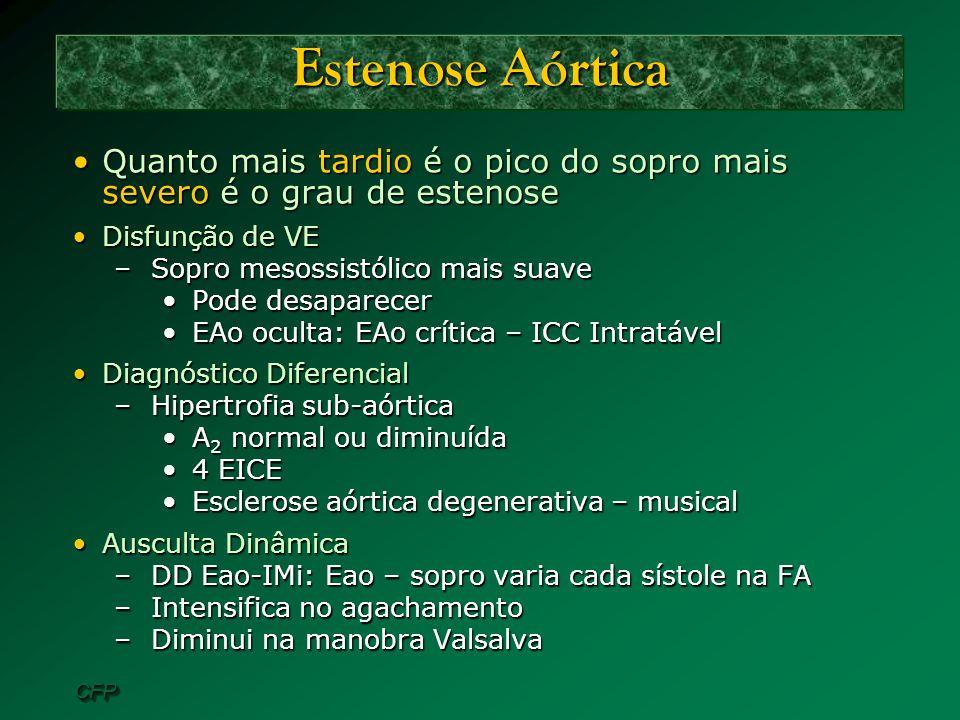 Estenose Aórtica Quanto mais tardio é o pico do sopro mais severo é o grau de estenose. Disfunção de VE.