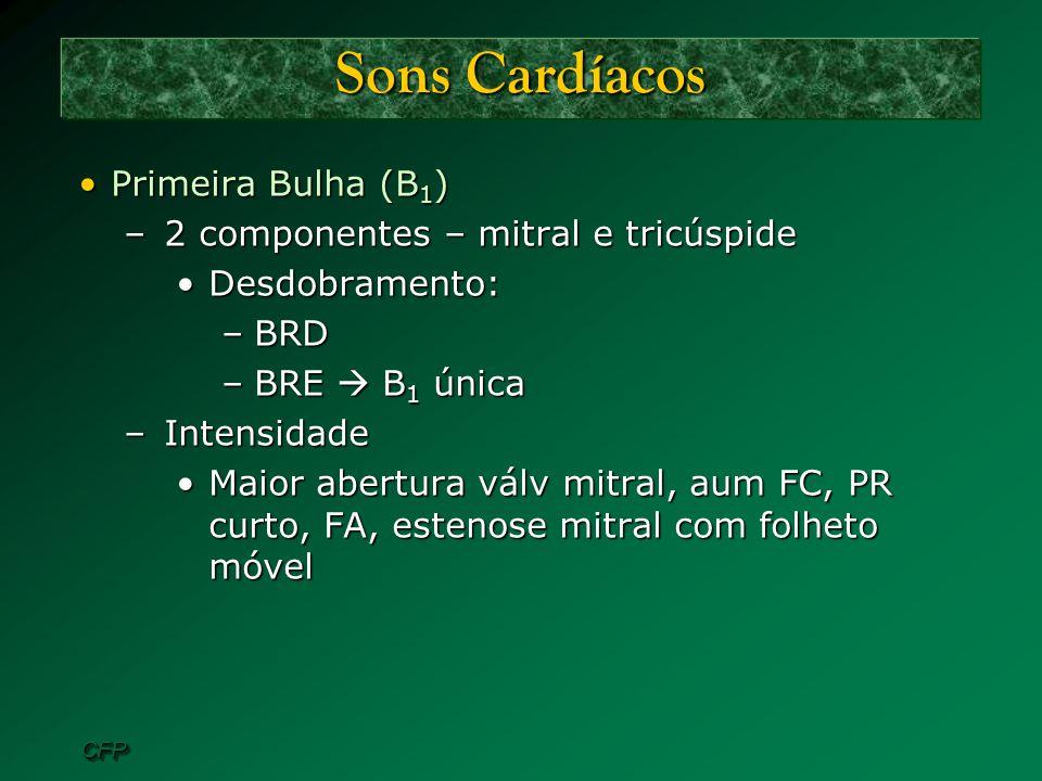 Sons Cardíacos Primeira Bulha (B1) 2 componentes – mitral e tricúspide