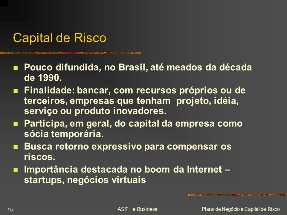 Capital de Risco Pouco difundida, no Brasil, até meados da década de 1990.