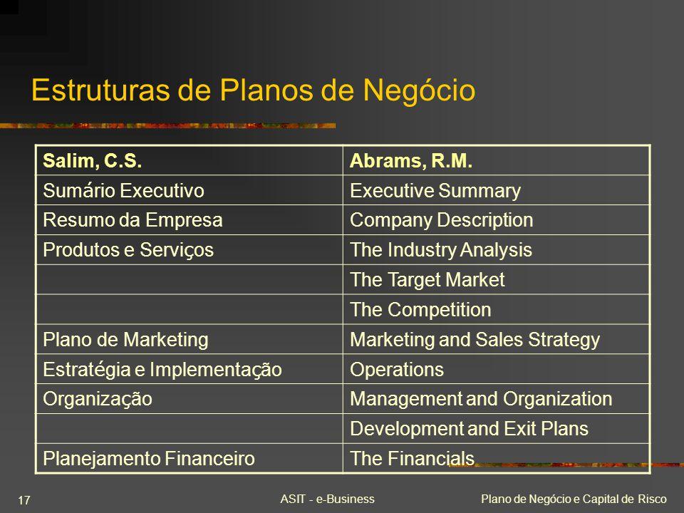Estruturas de Planos de Negócio