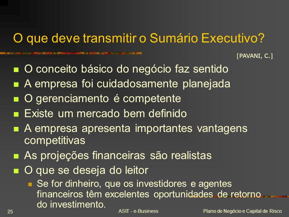 O que deve transmitir o Sumário Executivo