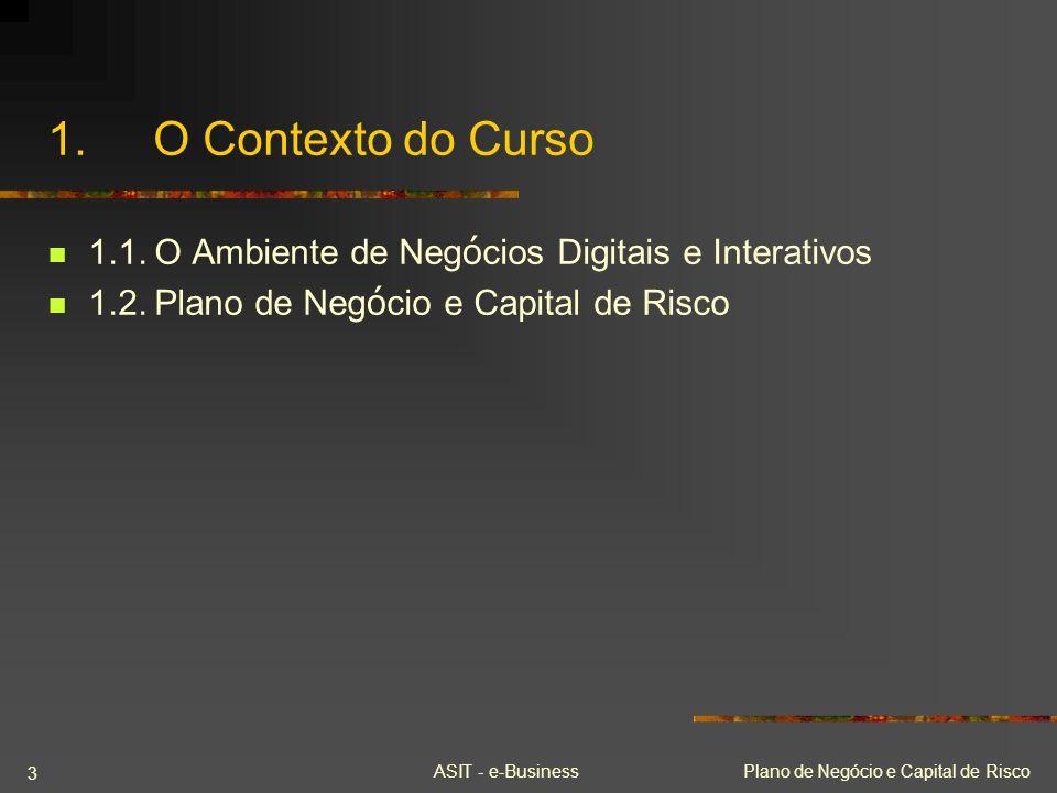 ASIT - e-Business 02/04/2017. 1. O Contexto do Curso. 1.1. O Ambiente de Negócios Digitais e Interativos.