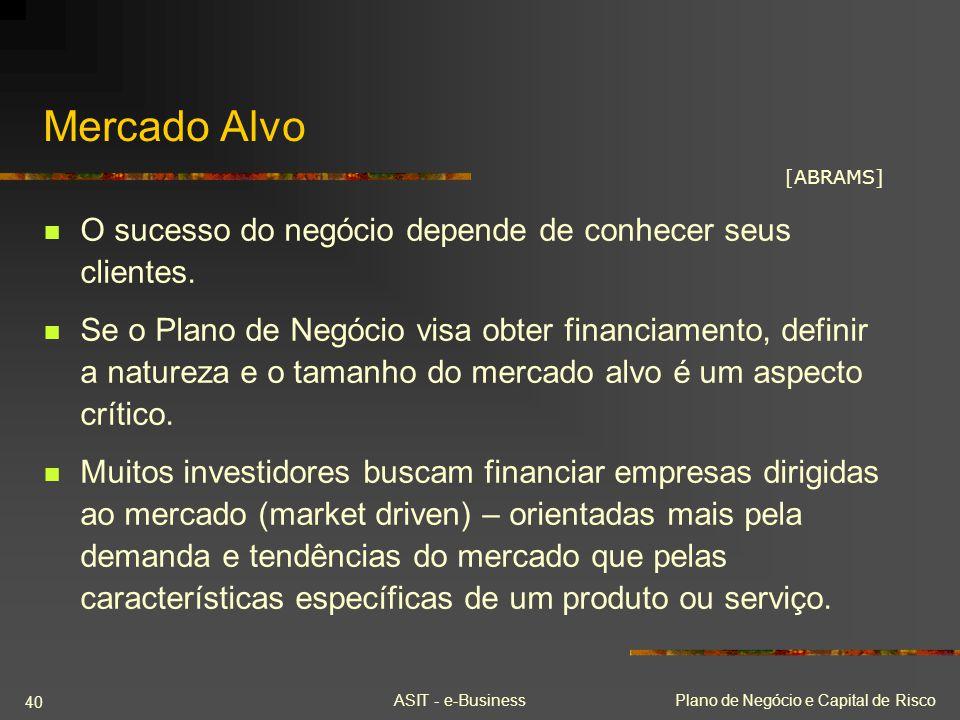 Mercado Alvo O sucesso do negócio depende de conhecer seus clientes.