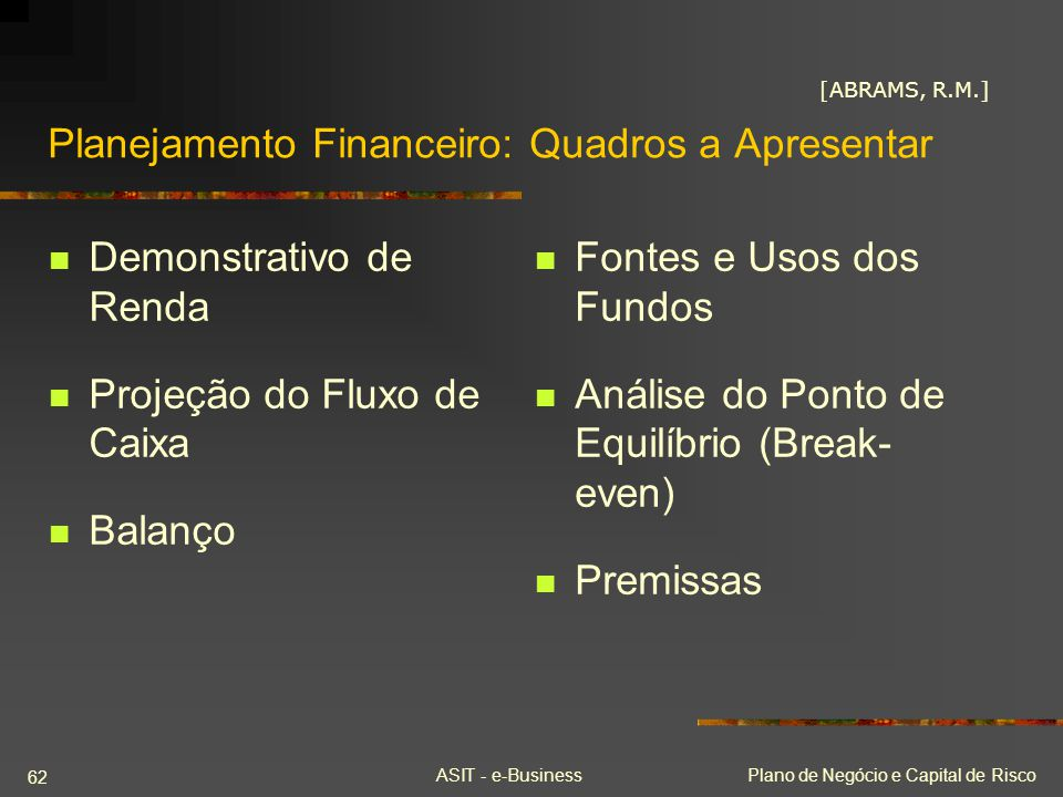 Planejamento Financeiro: Quadros a Apresentar