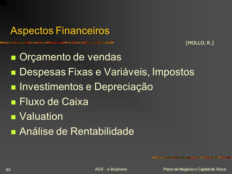 Despesas Fixas e Variáveis, Impostos Investimentos e Depreciação