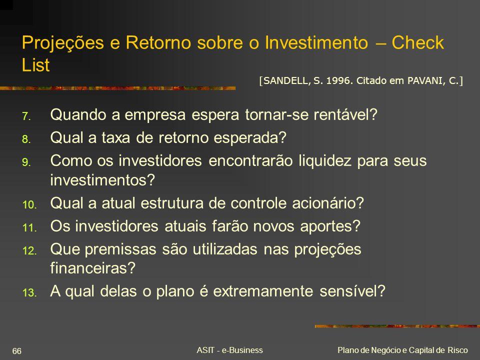 Projeções e Retorno sobre o Investimento – Check List