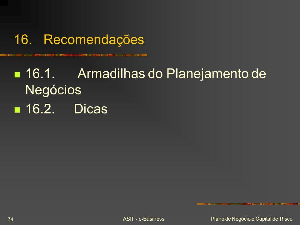 16.1. Armadilhas do Planejamento de Negócios 16.2. Dicas