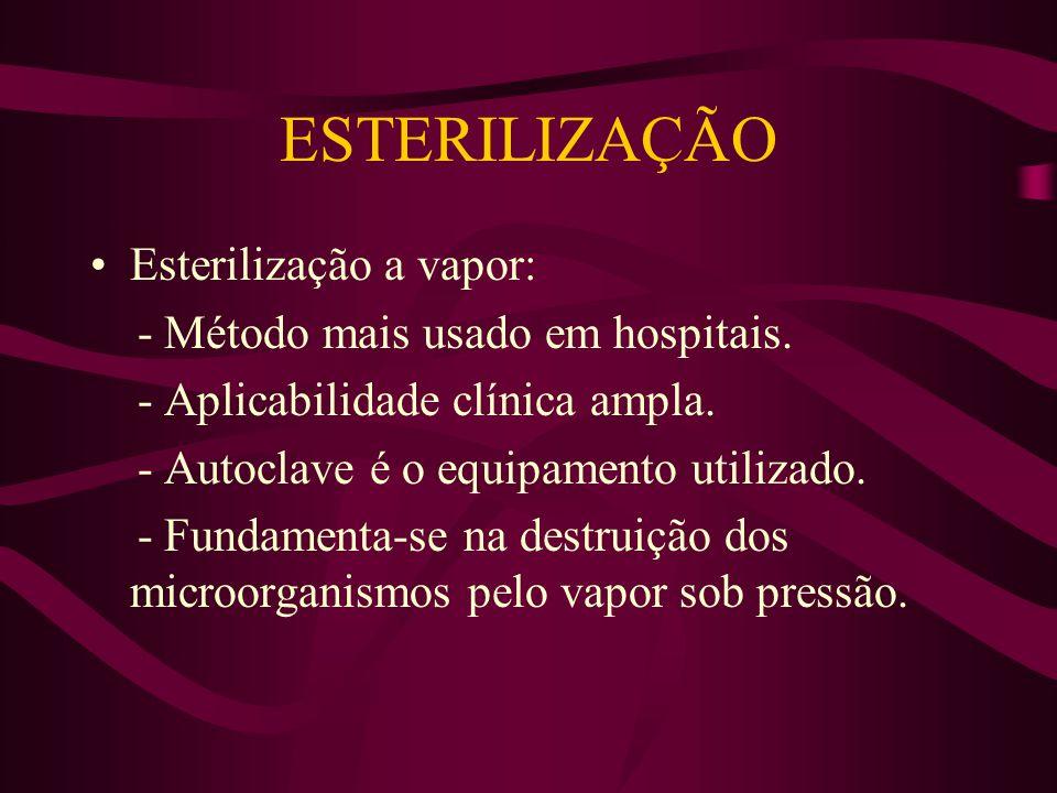 ESTERILIZAÇÃO Esterilização a vapor: - Método mais usado em hospitais.