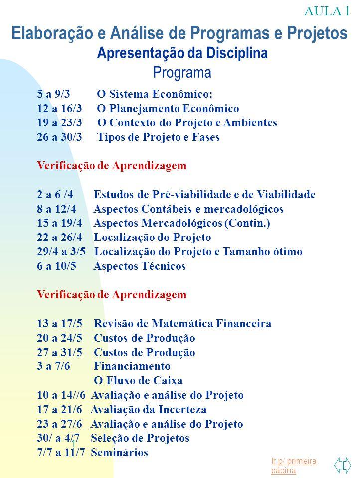 Apresentação da Disciplina Programa