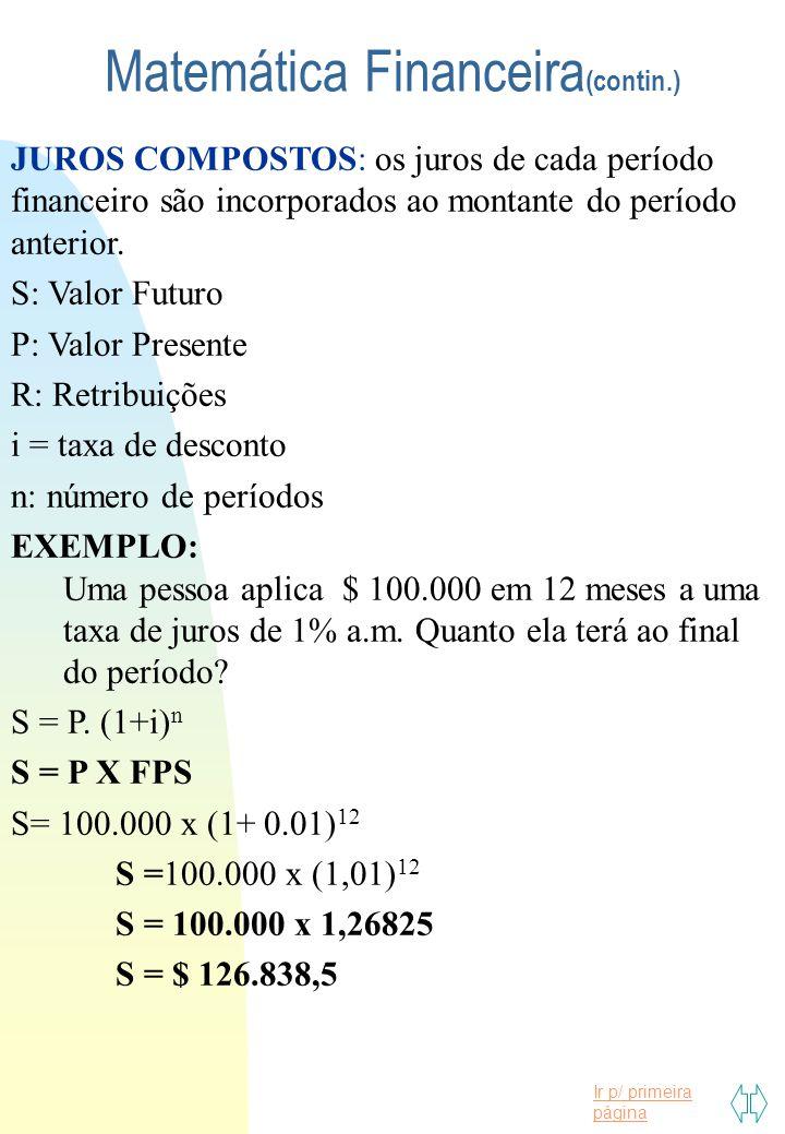 Matemática Financeira(contin.)