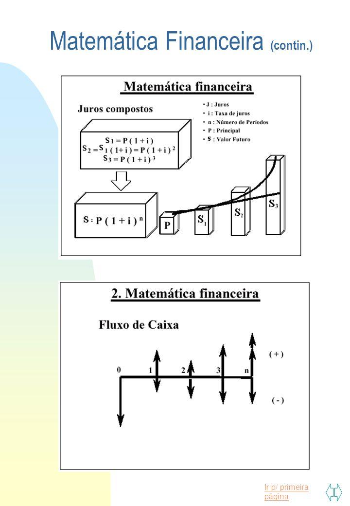 Matemática Financeira (contin.)