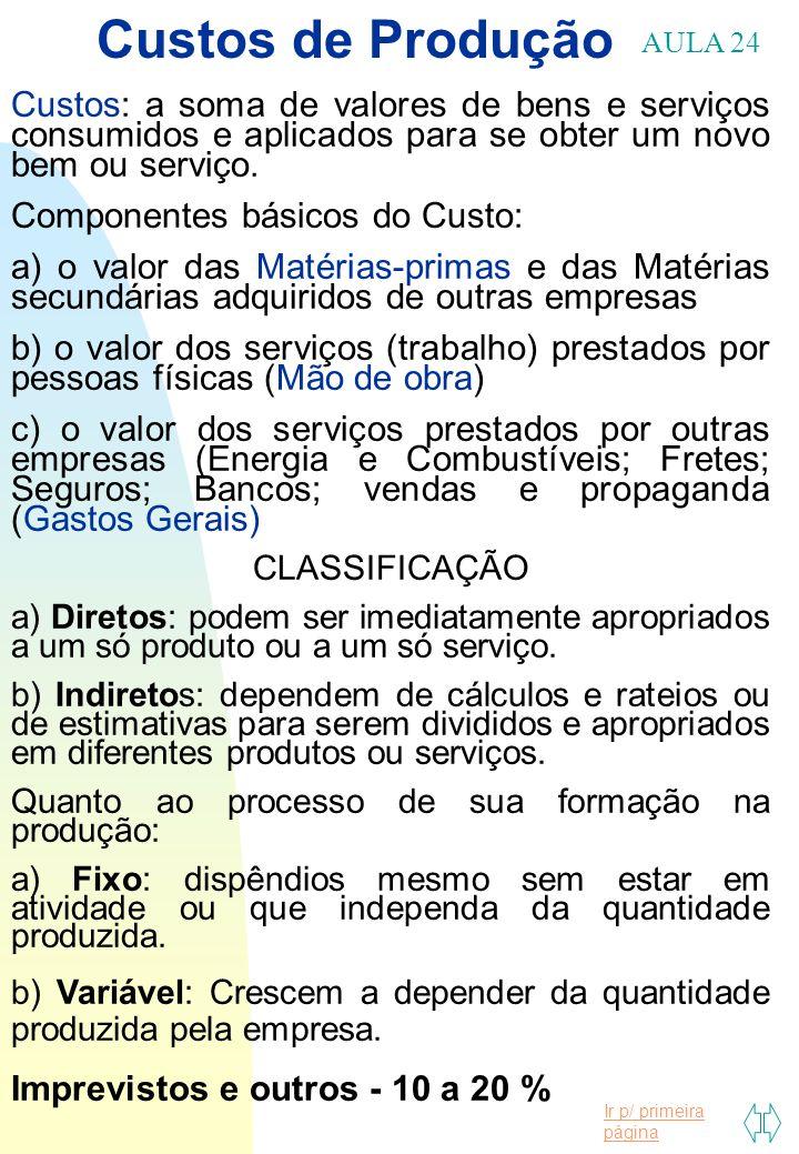 Custos de Produção AULA 24. Custos: a soma de valores de bens e serviços consumidos e aplicados para se obter um novo bem ou serviço.