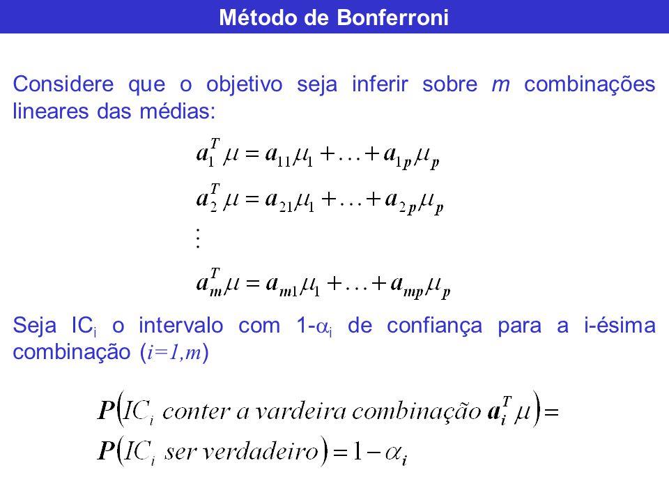 Método de Bonferroni Considere que o objetivo seja inferir sobre m combinações lineares das médias: