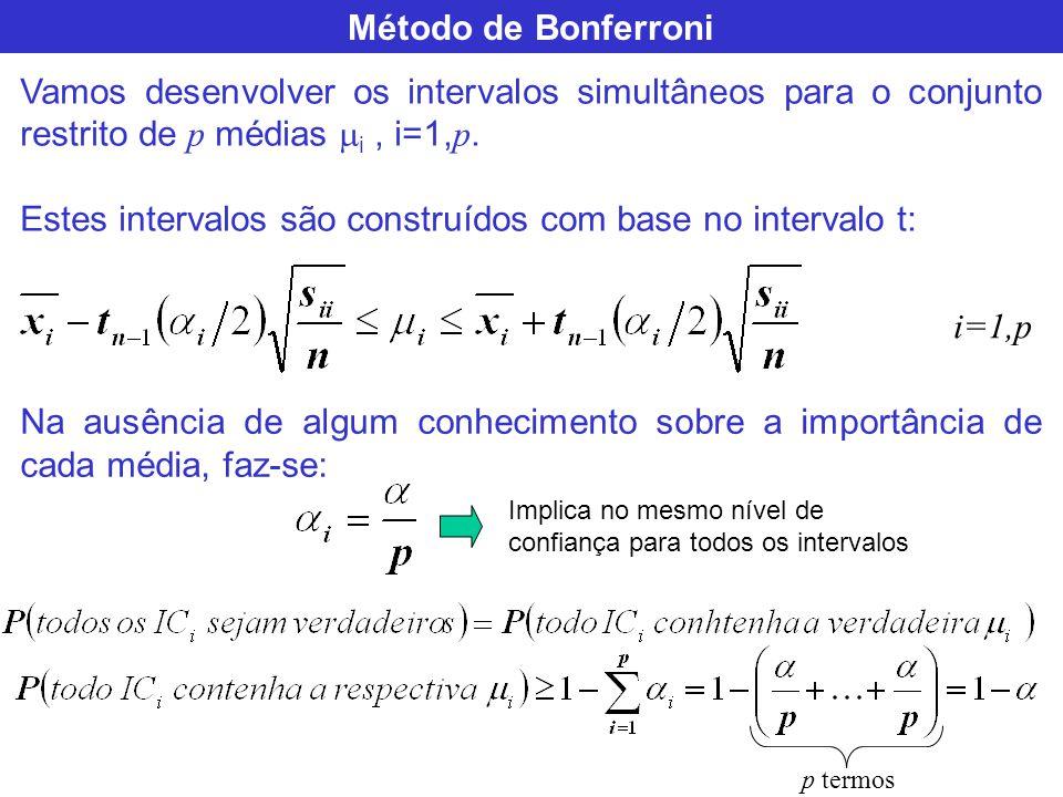 Estes intervalos são construídos com base no intervalo t: