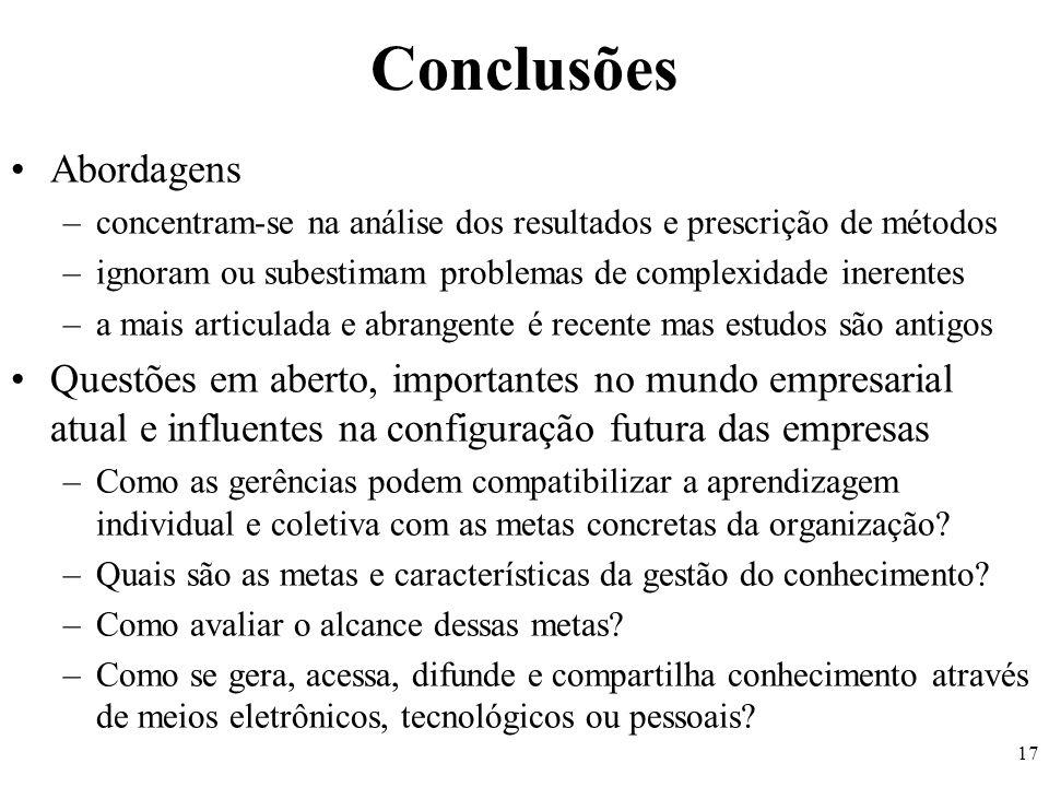 Conclusões Abordagens