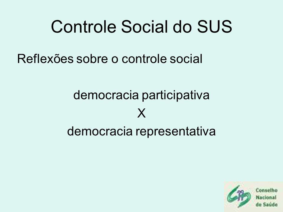 Controle Social do SUS Reflexões sobre o controle social