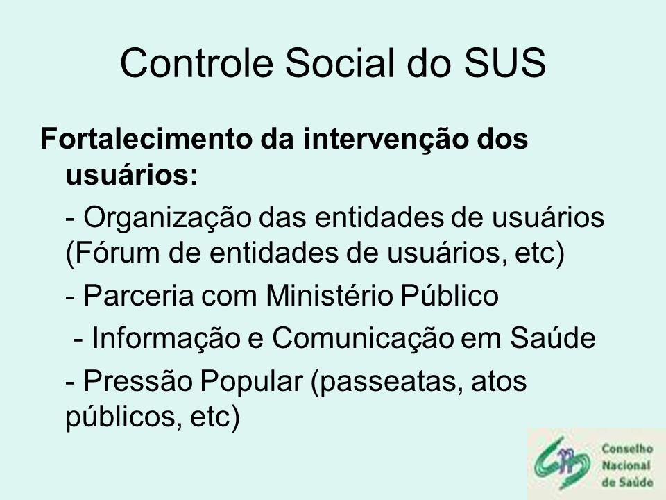 Controle Social do SUS Fortalecimento da intervenção dos usuários: