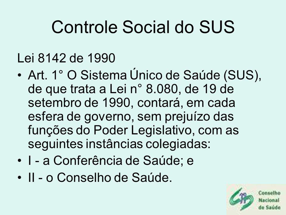 Controle Social do SUS Lei 8142 de 1990