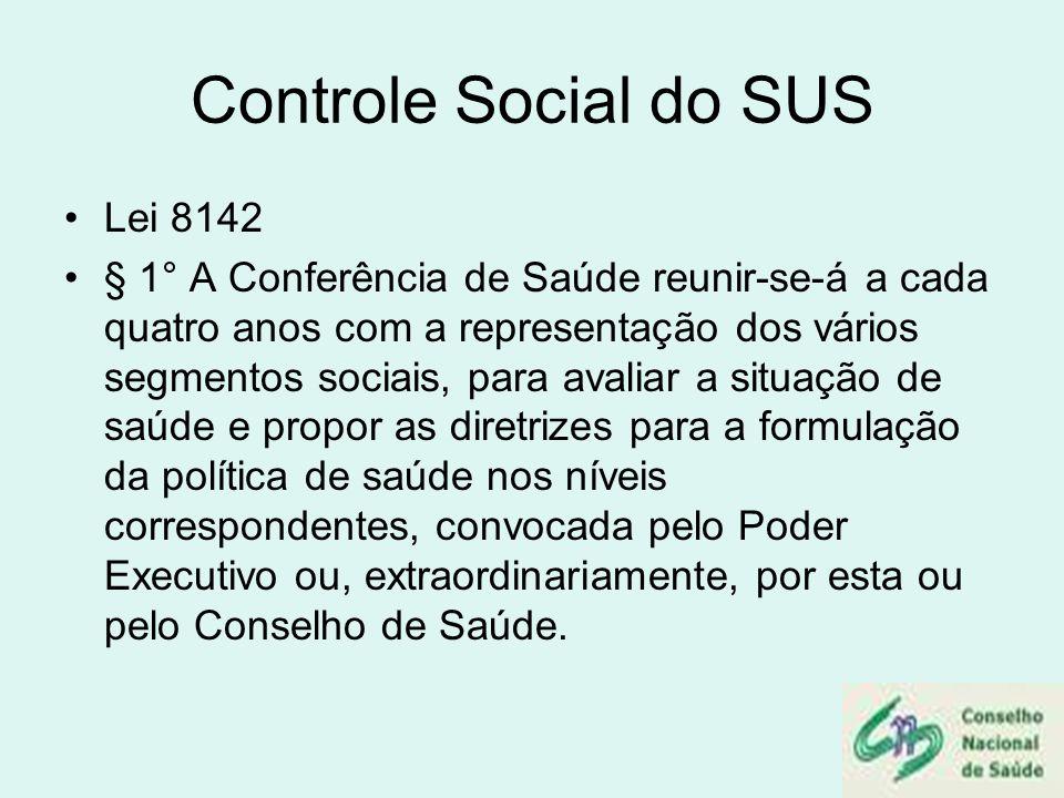 Controle Social do SUS Lei 8142
