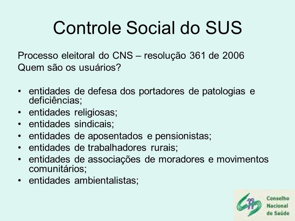 Controle Social do SUS Processo eleitoral do CNS – resolução 361 de 2006. Quem são os usuários