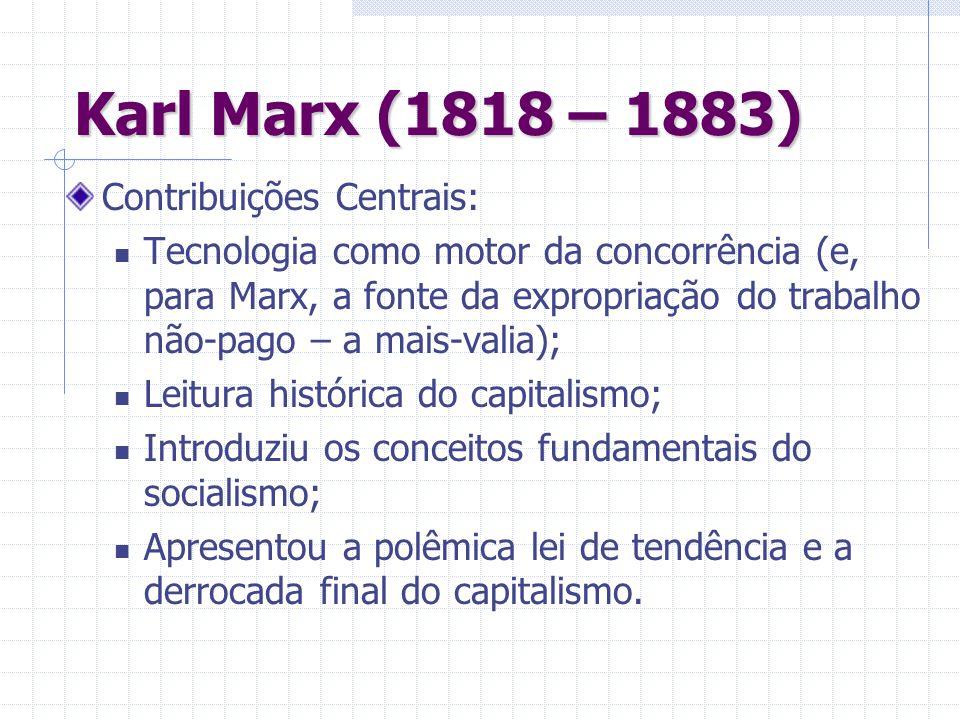 Karl Marx (1818 – 1883) Contribuições Centrais: