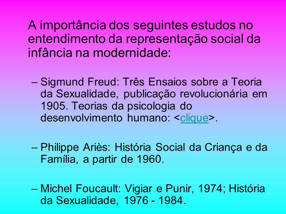 A importância dos seguintes estudos no entendimento da representação social da infância na modernidade: