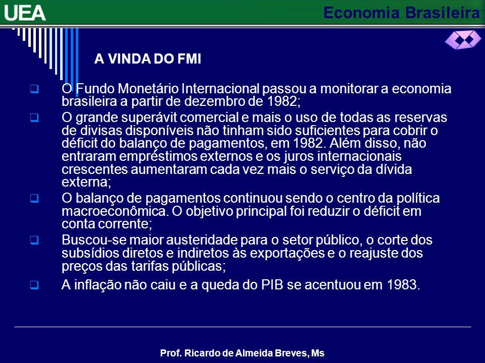 A VINDA DO FMI O Fundo Monetário Internacional passou a monitorar a economia brasileira a partir de dezembro de 1982;