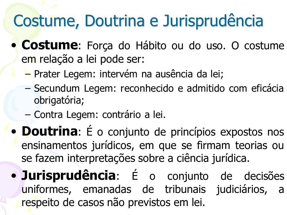 Costume, Doutrina e Jurisprudência