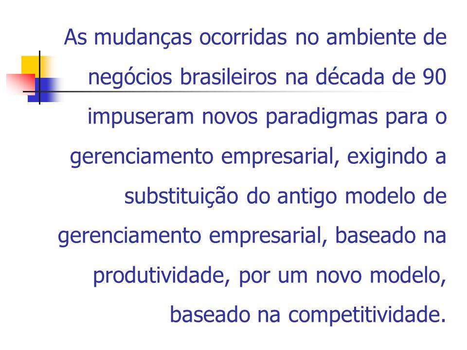 As mudanças ocorridas no ambiente de negócios brasileiros na década de 90 impuseram novos paradigmas para o gerenciamento empresarial, exigindo a substituição do antigo modelo de gerenciamento empresarial, baseado na produtividade, por um novo modelo, baseado na competitividade.