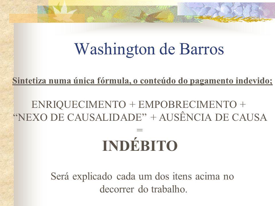 Washington de Barros INDÉBITO ENRIQUECIMENTO + EMPOBRECIMENTO +