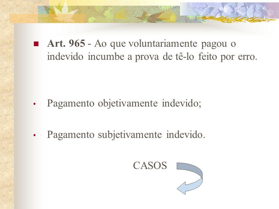 Art. 965 - Ao que voluntariamente pagou o indevido incumbe a prova de tê-lo feito por erro.