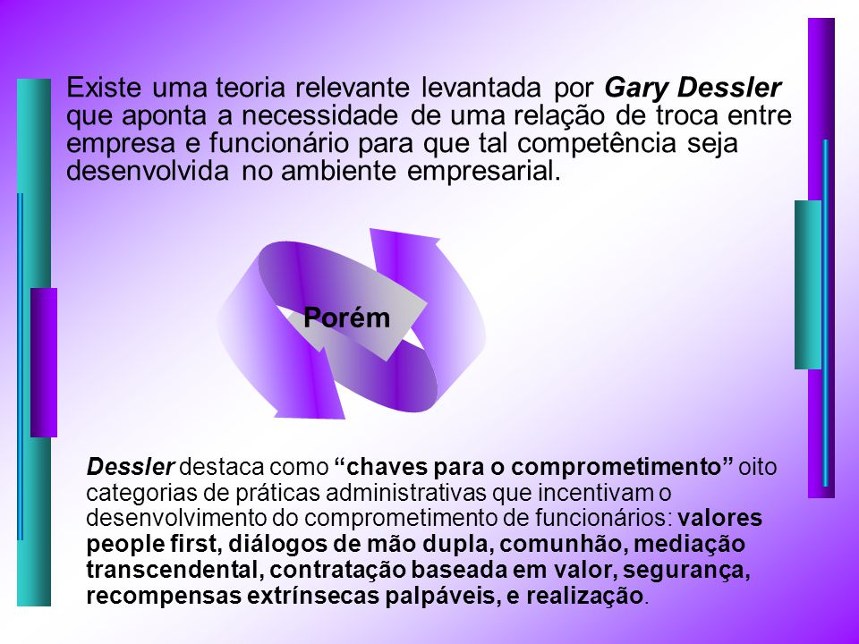 Existe uma teoria relevante levantada por Gary Dessler que aponta a necessidade de uma relação de troca entre empresa e funcionário para que tal competência seja desenvolvida no ambiente empresarial.