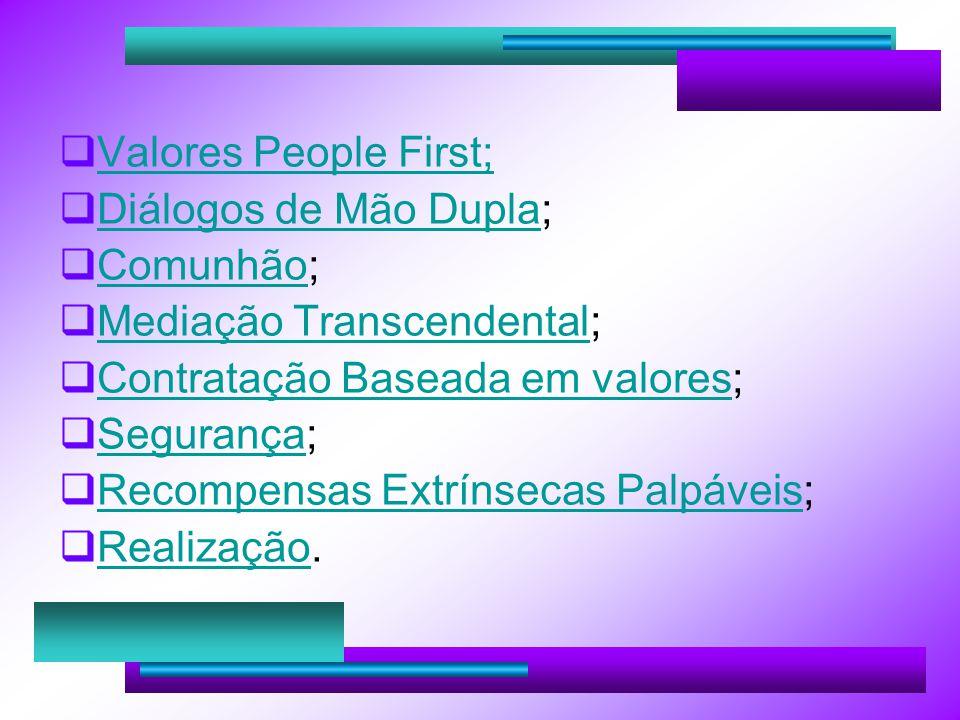 Valores People First; Diálogos de Mão Dupla; Comunhão; Mediação Transcendental; Contratação Baseada em valores;