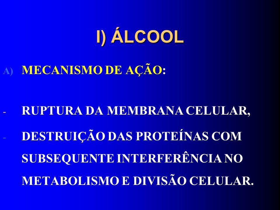 I) ÁLCOOL MECANISMO DE AÇÃO: RUPTURA DA MEMBRANA CELULAR,
