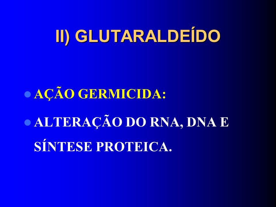 II) GLUTARALDEÍDO AÇÃO GERMICIDA: