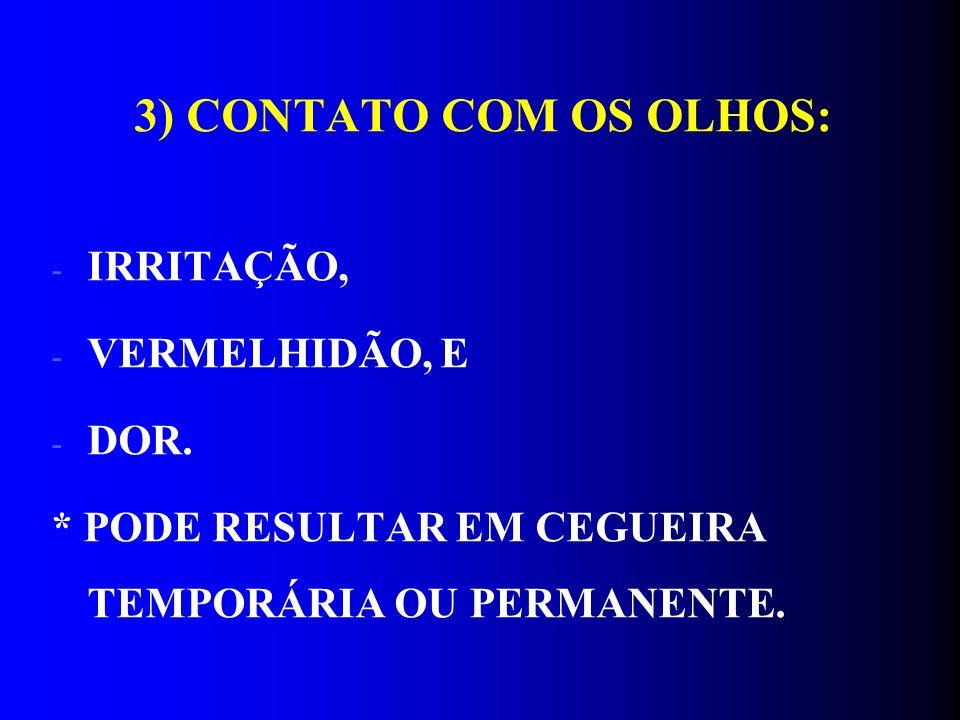 3) CONTATO COM OS OLHOS: IRRITAÇÃO, VERMELHIDÃO, E DOR.