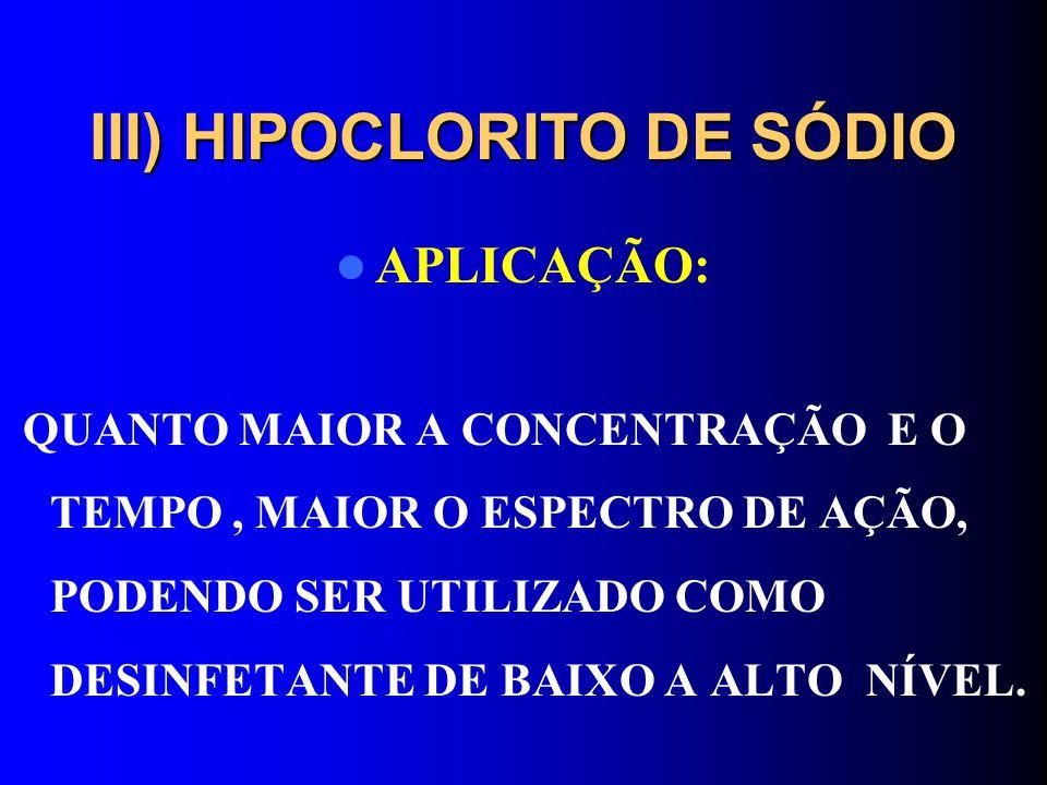 III) HIPOCLORITO DE SÓDIO