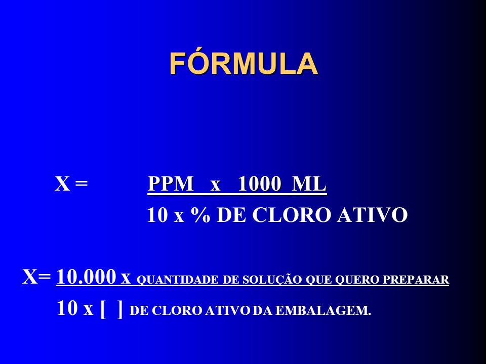 FÓRMULA X = PPM x 1000 ML 10 x % DE CLORO ATIVO