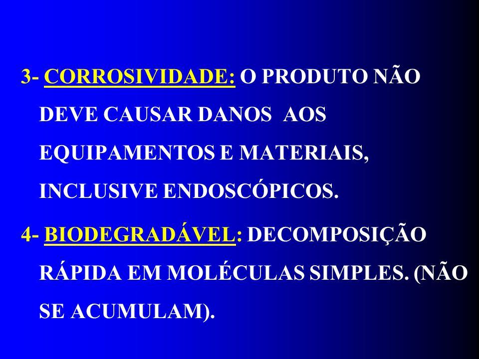 3- CORROSIVIDADE: O PRODUTO NÃO DEVE CAUSAR DANOS AOS EQUIPAMENTOS E MATERIAIS, INCLUSIVE ENDOSCÓPICOS.