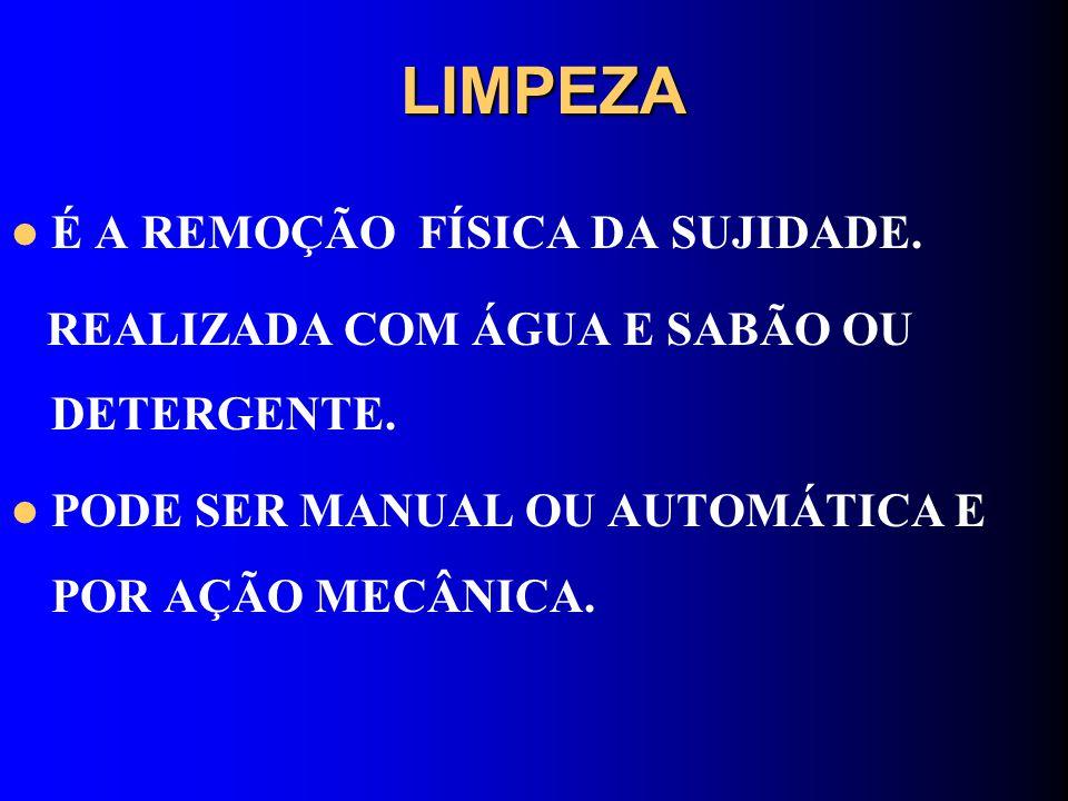 LIMPEZA É A REMOÇÃO FÍSICA DA SUJIDADE.