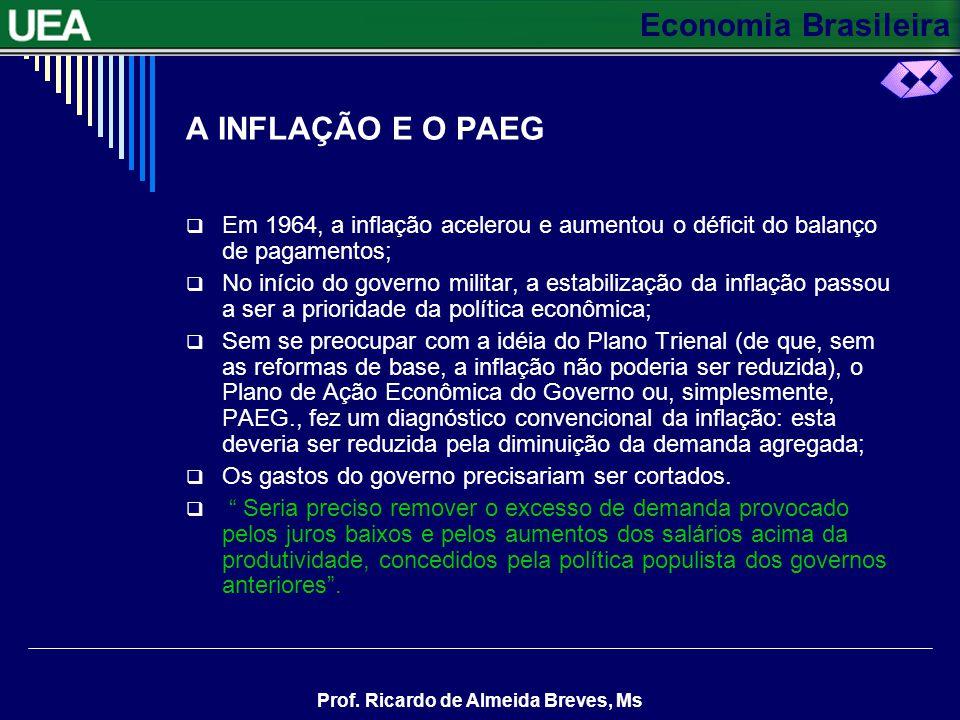 A INFLAÇÃO E O PAEG Em 1964, a inflação acelerou e aumentou o déficit do balanço de pagamentos;