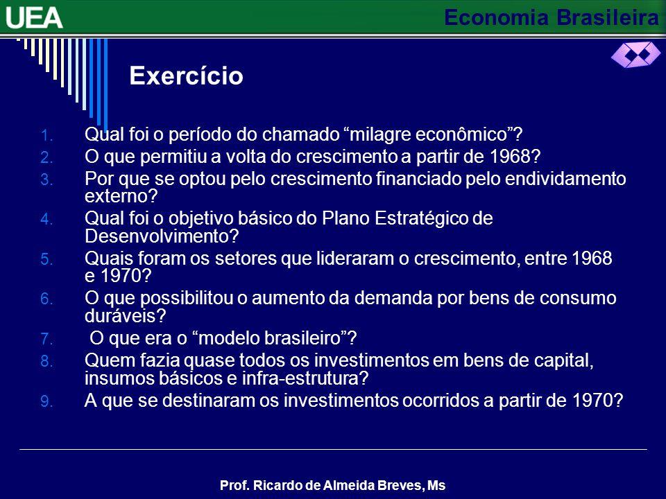 Exercício Qual foi o período do chamado milagre econômico