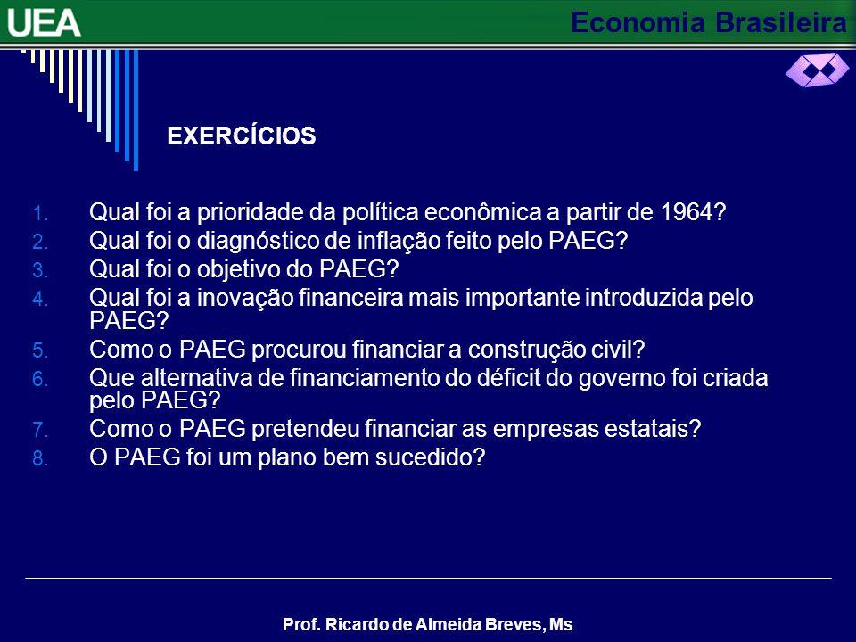 EXERCÍCIOS Qual foi a prioridade da política econômica a partir de 1964 Qual foi o diagnóstico de inflação feito pelo PAEG