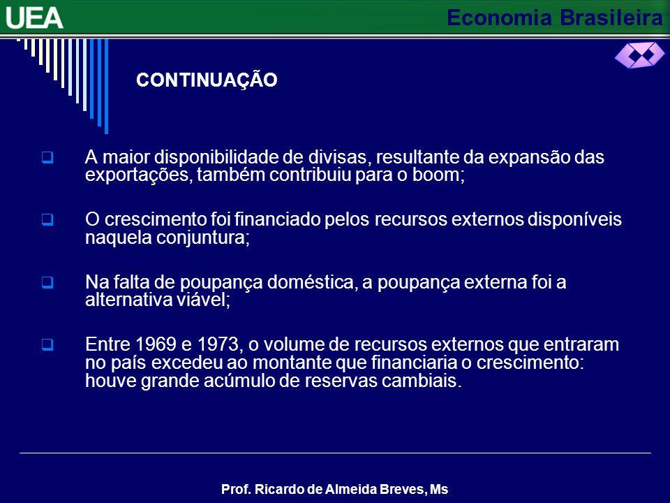 CONTINUAÇÃO A maior disponibilidade de divisas, resultante da expansão das exportações, também contribuiu para o boom;