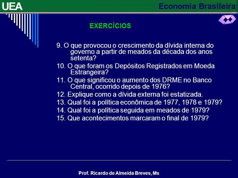 EXERCÍCIOS 9. O que provocou o crescimento da dívida interna do governo a partir de meados da década dos anos setenta