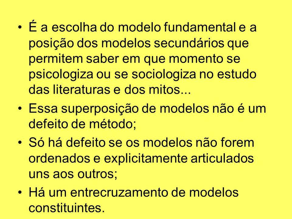 É a escolha do modelo fundamental e a posição dos modelos secundários que permitem saber em que momento se psicologiza ou se sociologiza no estudo das literaturas e dos mitos...