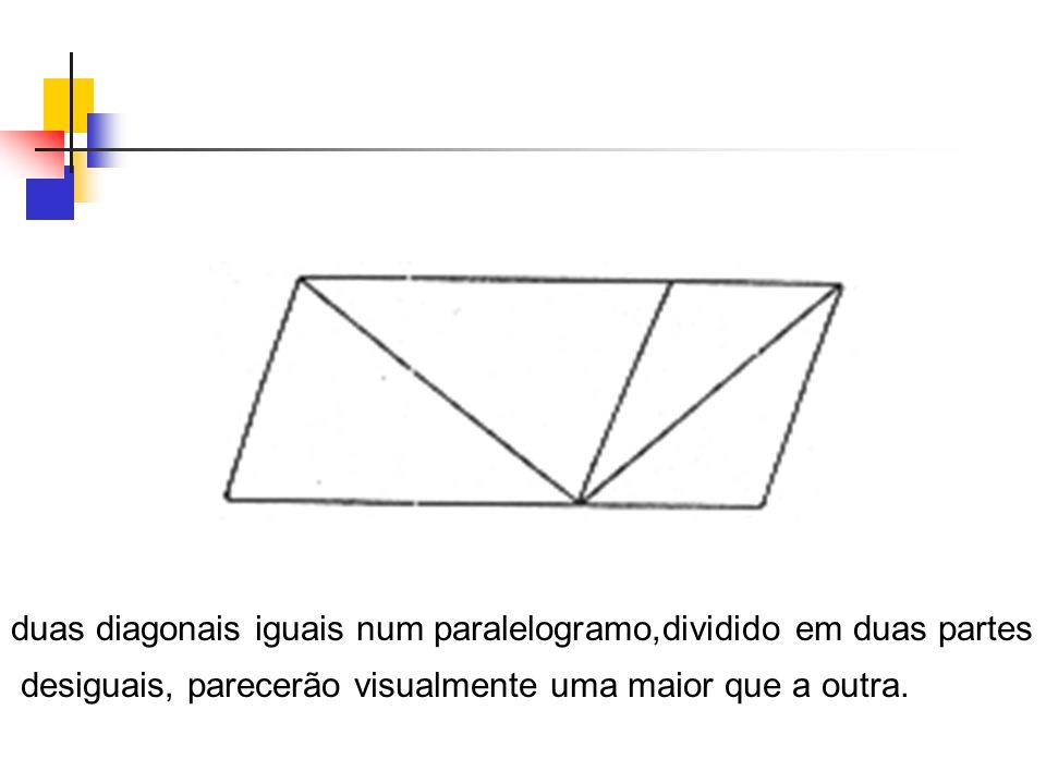 duas diagonais iguais num paralelogramo,dividido em duas partes