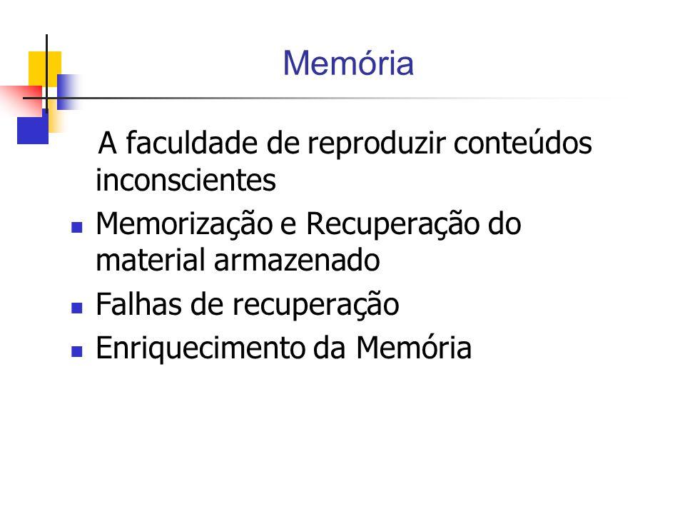 Memória A faculdade de reproduzir conteúdos inconscientes