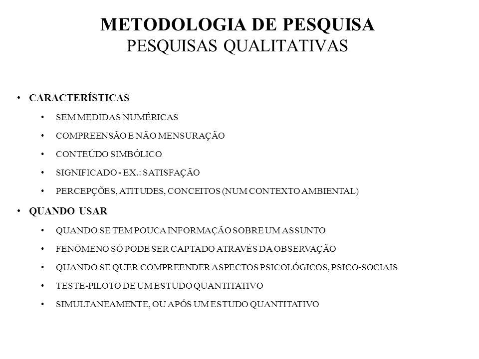 METODOLOGIA DE PESQUISA PESQUISAS QUALITATIVAS